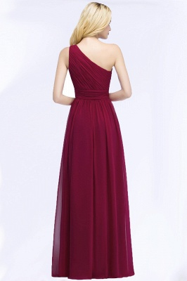 A-line One-Shoulder Bridesmaid Dresses | Ruched Long Wedding Party Dress_4