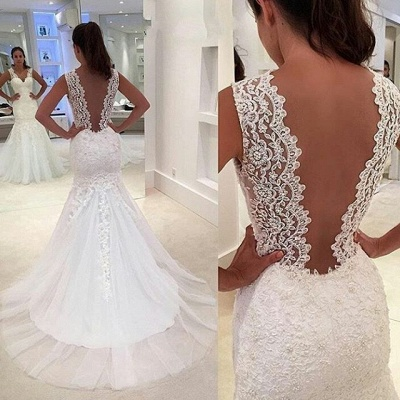 Straps Sleeveless Sweep Train Lace Appliques Sexy Mermaid Wedding Dress_4