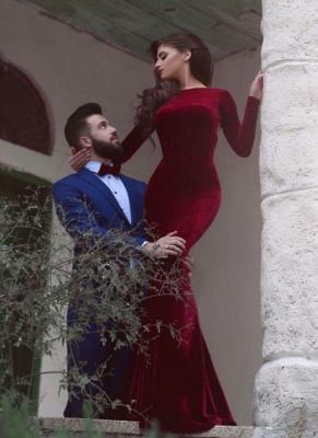 Elegant Burgundy Mermaid Prom Dresses Long Sleeves Open Back Long Evening Dresses_1