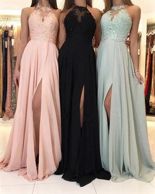 Elegant A-Line Appliques Evening Dresses | Halter Side Slit Prom Dresses_3
