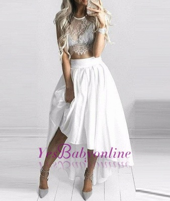 Hi-Lo Two-Piece White Lace Sexy Capped-Sleeves Prom Dresses_1