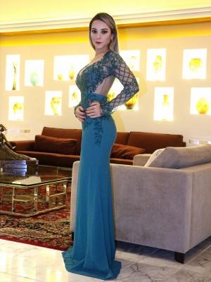 Mermaid Long v-Neck Elegant Sleeves Evening Dresses_2