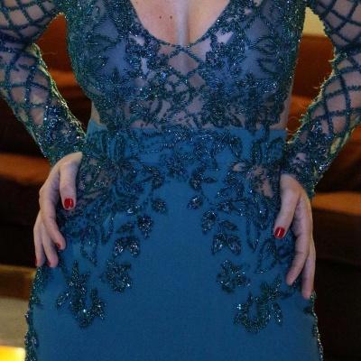 Mermaid Long v-Neck Elegant Sleeves Evening Dresses_4