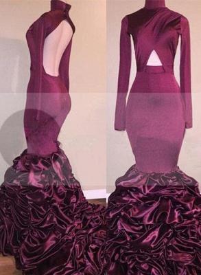 Mermaid Long-Sleeves High-Neck Ruffles Open-Back Newest Prom Dress_2
