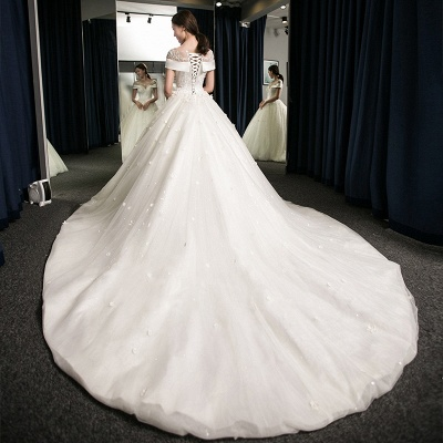 Exquisite Cap-Sleeves Scoop Puffy Cathedral Train Lace-Applique  Wedding Dresses_3