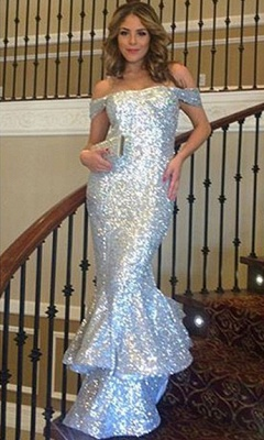 Shiny Sequins Mermaid Prom Dresses Off-The-Shoulder Sexy Silver Ruffles Evening Gowns_3