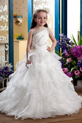 Cute Organza Layered One-Shoulder Floor-Length Flower Girl Dress with Beadings_1