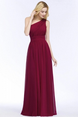 A-line One-Shoulder Bridesmaid Dresses | Ruched Long Wedding Party Dress_1