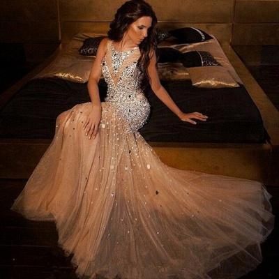 Luxury Mermaid Beading Evening Dresses |  Scoop Sleeveless Long Prom Dresses_3