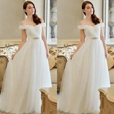 Crystal Sweep Train A-line Modern Off-the-shoulder Wedding Dress_3
