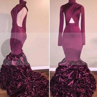 Mermaid Long-Sleeves High-Neck Ruffles Open-Back Newest Prom Dress_3
