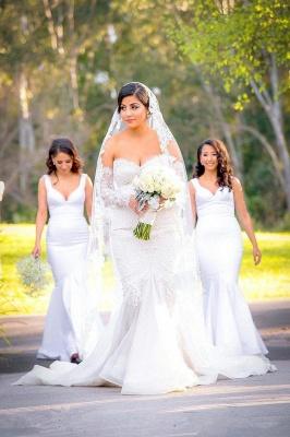 Glamorous Zipper Pearls Sweetheart Lace Mermaid  Wedding Dress_2
