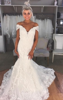 Glamorous Sexy Mermaid Wedding Dresses | Off-the-Shoulder Lace Bridal Gowns_1