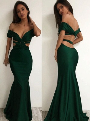Sexy Off-the-shoulder Prom Dresses Dark Green Cutaway Sides Mermaid Evening Gowns_2