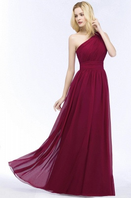 A-line One-Shoulder Bridesmaid Dresses | Ruched Long Wedding Party Dress_2