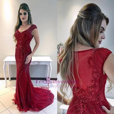 Red Cap-Sleeves Mermaid Gorgeous Prom Dress_1