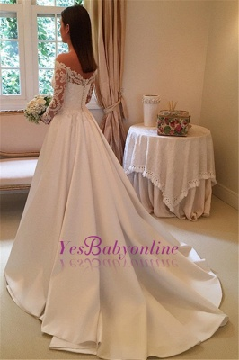 Detachable-Train Off-the-Shoulder A-Line Modern Long Sleevess Wedding Dresses_1