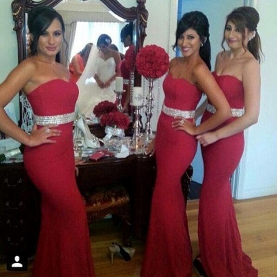 Gorgeous Crystal Mermaid Sweetheart Red Bridesmaid Dress_3