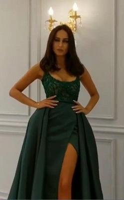 Elegant  Crystal Sleeveless Dark Green Straps Long Prom Dress with Overskirt_5