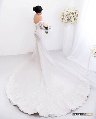 Glamorous Zipper Pearls Sweetheart Lace Mermaid  Wedding Dress_4