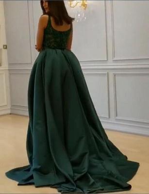 Elegant  Crystal Sleeveless Dark Green Straps Long Prom Dress with Overskirt_3
