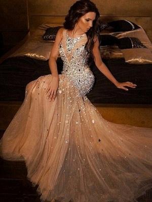Luxury Mermaid Beading Evening Dresses |  Scoop Sleeveless Long Prom Dresses_1