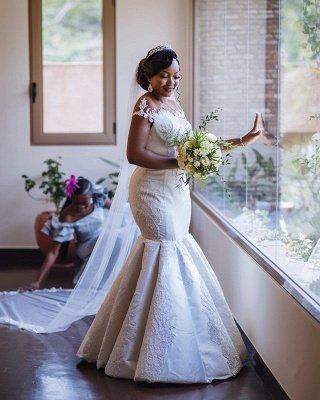 Charming Jewel Cap Sleeve Applique Beaded Fitted Mermaid Wedding Dresses_3