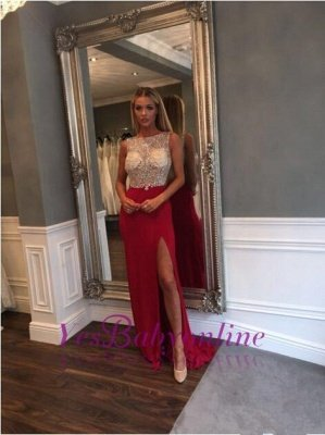 Jewel Sweep-Train Front-Split Crystals Sleeveless Gorgeous Prom Dress_1