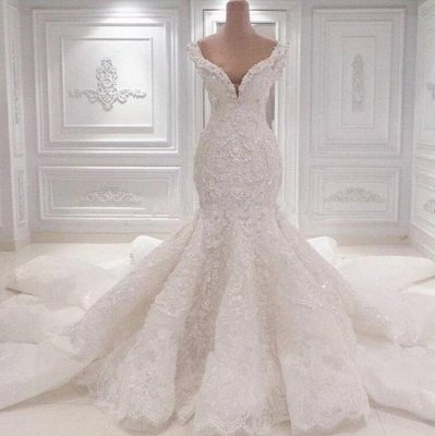 Off the Shoulder Lace Appliques Beaded Mermaid Wedding Dresses_2