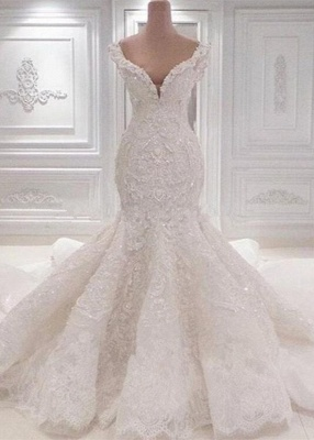 Off the Shoulder Lace Appliques Beaded Mermaid Wedding Dresses