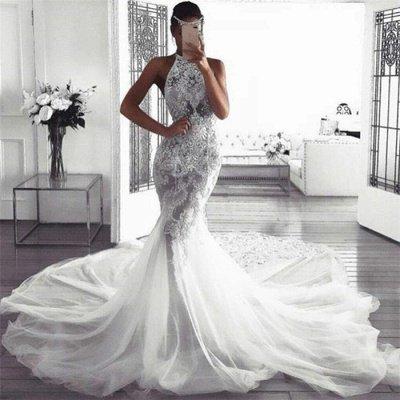 Glamorous Sleeveless Halter Sexy Mermaid Tulle Wedding Dresses_3
