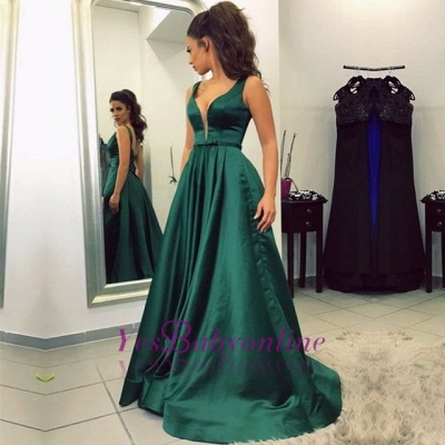 Sleeveless V-neck Backless A-line Green Newest Prom Dress_1