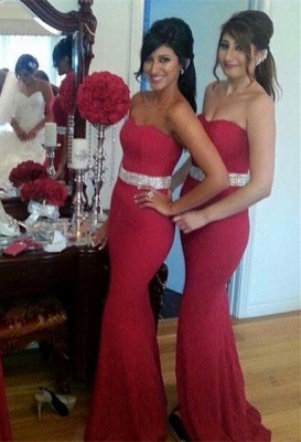 Gorgeous Crystal Mermaid Sweetheart Red Bridesmaid Dress_2