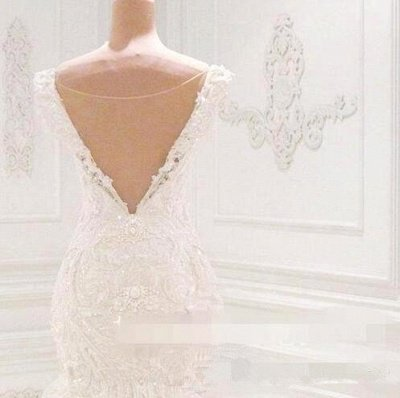 Off the Shoulder Lace Appliques Beaded Mermaid Wedding Dresses_3