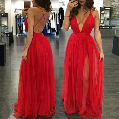 Long V-neck Split Sexy Backless Straps Red Deep Evening Gowns_3