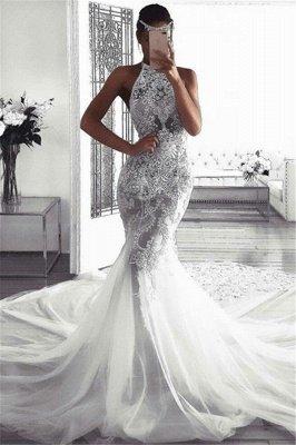 Glamorous Sleeveless Halter Sexy Mermaid Tulle Wedding Dresses_1