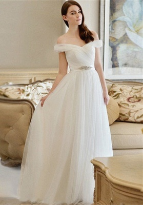 Crystal Sweep Train A-line Modern Off-the-shoulder Wedding Dress_2