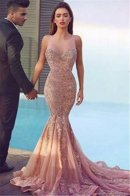 Jewel Sheer Gorgeous Mermaid Sequins Pink Sparkling Sleeveless Evening Dress_2