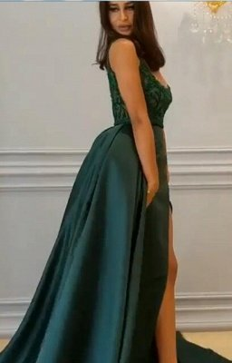 Elegant  Crystal Sleeveless Dark Green Straps Long Prom Dress with Overskirt_4