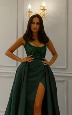Elegant  Crystal Sleeveless Dark Green Straps Long Prom Dress with Overskirt_5