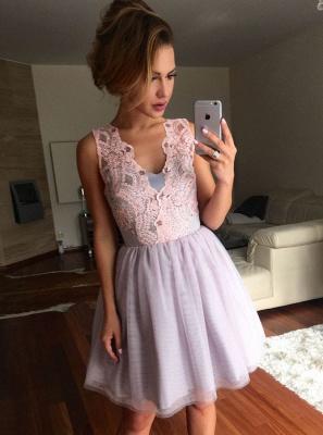Chic A-Line Short Homecoming Dresses | Zipper Sleeveless Cocktail Dresses_1