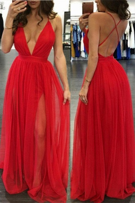 Long V-neck Split Sexy Backless Straps Red Deep Evening Gowns_2