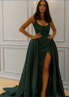 Elegant  Crystal Sleeveless Dark Green Straps Long Prom Dress with Overskirt_1