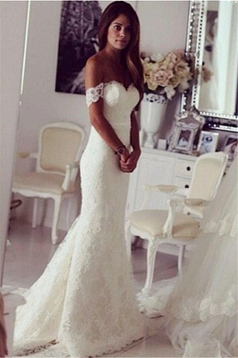 Stylish Sweep Train Lace Off-the-shoulder Mermaid Wedding Dress_2