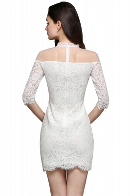 Lace Ivory Short Gorgeous Half Sleeve-Sheath High-Neck Evening Dresses_5
