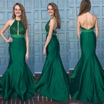 Mermaid Dark Green Prom Dresses 2019 Halter Neck Beading Backless Long Evening Gowns_3