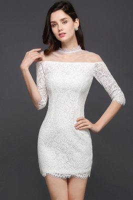 Lace Ivory Short Gorgeous Half Sleeve-Sheath High-Neck Evening Dresses_3