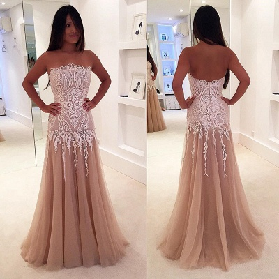 Zipper Strapless Newest A-line Lace Sleeveless Prom Dress_3