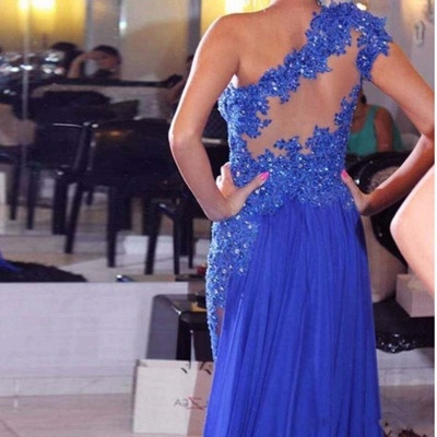 Sexy  Evening Dress   One-Shoulder Appliques Beading Prom Dresses_4