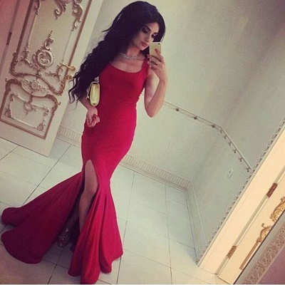 Simple Square-Neck Side-Slit Straps Red Sexy Mermaid Evening Gowns_3
